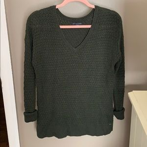 Green American Eagle V-neck Sweater